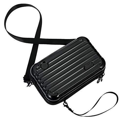 dgaf&bae Umhängetasche Handy Handschlaufe Klein Tasche Mode Hardcase Kosmetiktaschen Harte Schale Kosmetiktasche ReißVerschluss Fall Kunststoff Hartschale(schwarz)