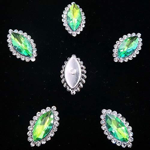 7 * 15mm 20pcs/Pack Rainbow Glass Crystal with Rhinestones Silver Claw Settings Navette Shape Sew on Rhinestone Wedding Dress DIY,A3 Green Rainbow,7x15mm 20pcs