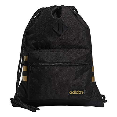 adidas Bolso unisex clásico 3s Sackpack, Unisex, Bolsa, 976595, Negro y dorado., Talla única