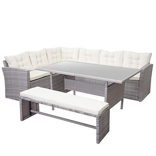 Mendler HWC-A29 - Juego de Mesa y sillas para jardín (polirratán), Color Gris Claro, Kissen Creme, mit Bank