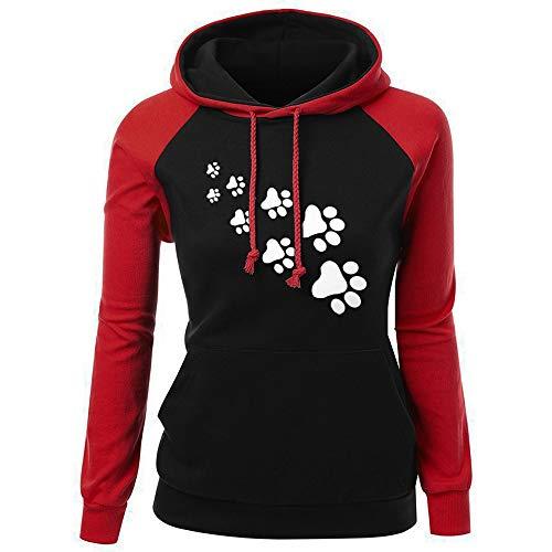 Sweatshirt à Capuche Femme Sweat Manches Longues Pullover Casual avec Pattes de Chien Imprimée Pull Décontracté Tops Hauts Automne- Hiver Grande Taille S-XXL