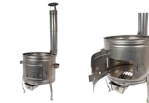 Unbekannt Edelstahl Ofen 39 Holzofen Gulaschkanone Terrassenofen für Töpfe bis 10 Liter