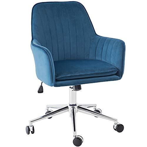 Jacky Home Office Desk Task Velvet Home Computer Chair with Mid-Back Modern Adjustable Swivel Chair with Arms (Blue)