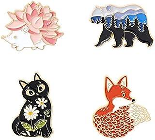 Pin de esmalte de jardín de bosque zorro gato oso erizo broches bolsa Pin de solapa dibujos animados Animal insignia regal...