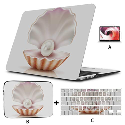 MacBook Air 13 Inches Mother of Pearl Shining in Open Shell of Freshwate MacBook Air Laptop Case Hard Shell Mac Air 11'/13' Pro 13'/15'/16' with Notebook Sleeve Bag for MacBook 2008-2020 Version