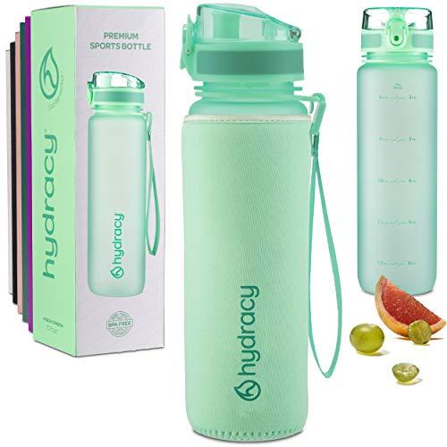 Hydracy Botella de Agua 500 ml con Marcador de Tiempo - Sin BPA con Filtro de Infusión de Frutas - Antigoteo y sin Sudor - Ideal para el Ejercicio y los Deportes al Aire Libre - Primavera Verde
