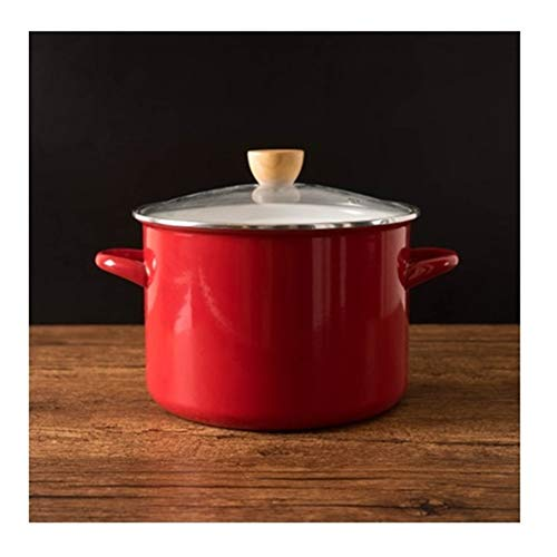 Japanse Rode porseleinemail Steamer Cooker Ears verdikte Verhoog Soup Stew Pot Household Koken Pan Stockpot Glass Cover (Color : 6L)