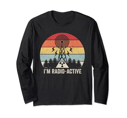 Retro I'm Radio-Active - Camisa con antena para radio de jamón Manga Larga