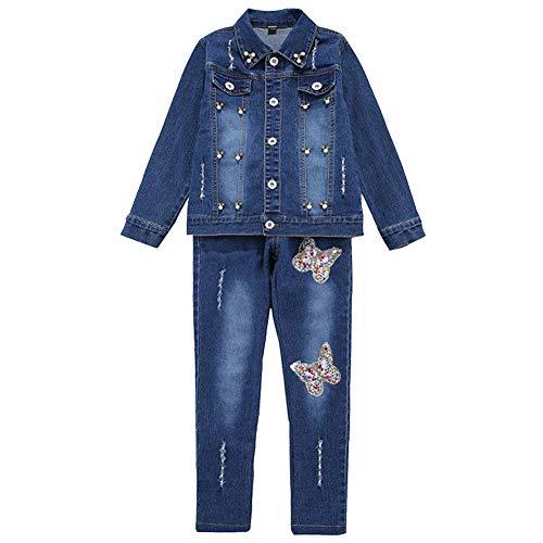 L PATTERN Kinder Mädchen 2tlg Jeans Anzug Bekleidungsset Zweiteiler Freizeitanzug Outfit-Set(Jeansjacke+Jeanshosen), 116-122