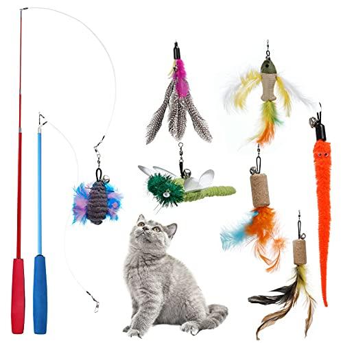 PETTOM Juguete con Plumas para Gato (9 PCS), 7 PCS Plumas de Recambio con Campanas y 2 PCS Varitas Retráctiles, Cañas de Pescar Juguetes Interactivos de Cazador para Ejercitar Gatos Gatitos Ma