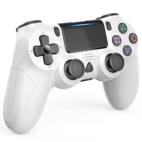 Wireless Controller for Playstation 4/Pro/Slim, Touch Panel Gamepad Remote Joystick with Dual Vibration, Audio Function and Mini LED Indicator (White)