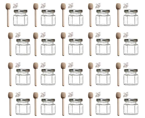 Adabocute 1.5 oz Hexagon Mini Glass Honey Jars with Wooden Dipper, Silver Lids, Silver Bee Pendants, Jutes, 20 Pack- Perfect for Baby Showers, Wedding Favors, Party Favors