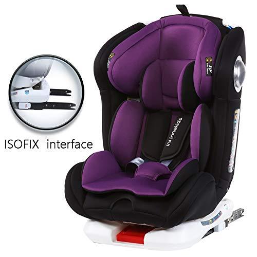 Cómodo asiento para el automóvil para niños, arnés la cubierta del elevador clip del cinturón seguridad para niños,interfaz ISOFIX Asiento elevador para, sentarse y acostarse,púrpura-ISOFIXinte