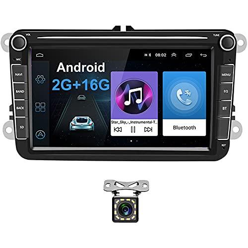 Radio para Coche Android para VW GPS 2G+16G Camecho 8   Pantalla Táctil Bluetooth Car Reproductor Estéreo WiFi FM Radio Receptor Dual USB para VW Golf Polo Touran Tiguan Seat Altea