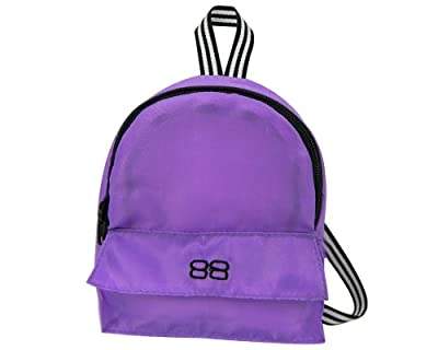 18 Inch Doll Backpack, Doll Size for Plush Animals or 18 Inch Doll Accessories and American Girl Dolls in Purple Nylon, Zippered Opening and Pocket in Purple