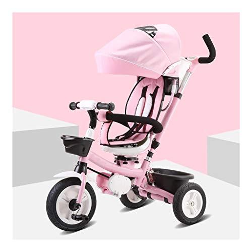 GYF Triciclo, Triciclo con Toldo Multiusos for niños Push-Pull de Doble Uso, Triciclo del bebé al Aire Libre, 2 Colores (Color : Pink)