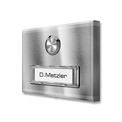 Aufputz Türklingel aus Edelstahl mit austauschbarem RENZ Namensschild (ohne LED-Beleuchtung, Edelstahl)