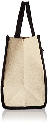 Mud Pie Classic Black and White Initial Canvas Tote Bags (K), 100% Cotton