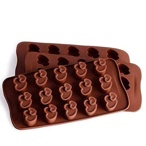 Perfecthome 15 sleuven dubbele harten silicone vorm rubber chocolade vormen voor keuken en bakken, reep energie en eiwitten ijsblokjes