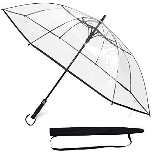 Sternenfunke Regenschirm groß XXL Ø130 cm transparent, Komfort Druckknopf, mit Tragehülle, Automatik, Perfekt als durchsichtiger Partnerschirm oder Hochzeitsschirm - Rand schwarz