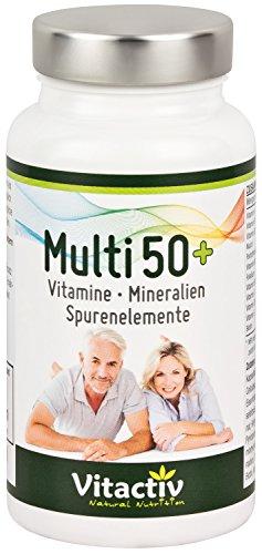 MULTI 50+ Vitamine, Mineralstoffe, Spurenelement, perfekt abgestimmt für Menschen ab ca 50 Jahren, hochdosiertes Vitamin B, Vitamin C, Vitamin E, Vitamin K, Vitamin D, in einer Kapsel, 60 Kaspeln