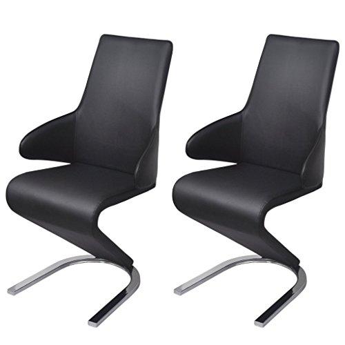 Festnight 2er-Set Esszimmerstühle Freischwinger Essstuhl aus Kunstleder Küchenstühle Stuhl mit Armlehne Schwarz