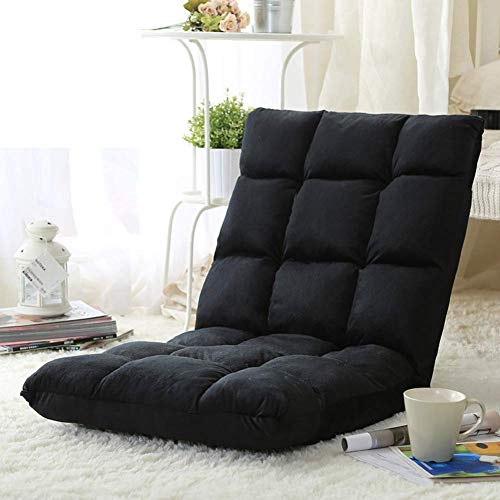 BZEDZ Tatami-matten Bodenstuhl Faul, Sofa Mit Verstellbare rückenlehne Stock Gaming-Stuhl Meditationsstuhl Liegestühle-schwarz