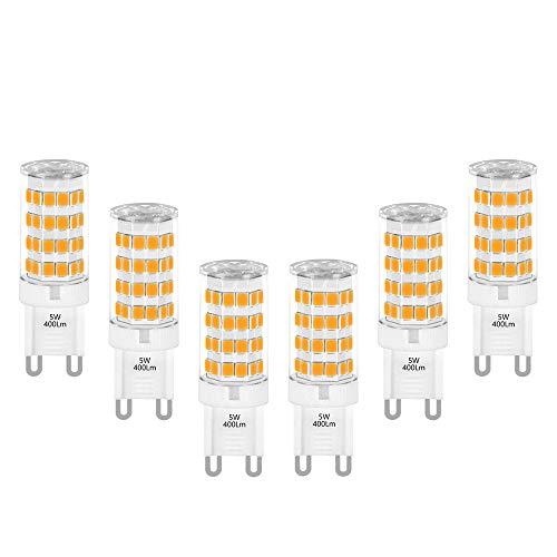 G9 LED Kleine Leuchtmittel Birnen Lampe 5W 400Lm Warmweiß 3000K Ersatz 40W G9 Halogenlampe für Deckenleuchte Kronleuchter Spiegellampe 6er Pack von Enuotek