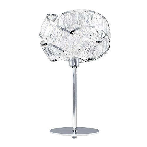 MiniSun Polished Chrome & Clear Acrylic Jewel Intertwined Rings Design Table Lamp