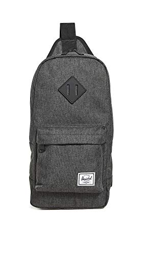Herschel Heritage Shoulder Bag Backpack, Black Crosshatch, One Size 8.0L