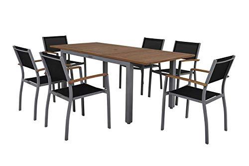 Villana esstischgarnitur, Plata/Negro, Aluminio/Madera de Acacia FSC, Mesa Extensible 150/200cm, 6sillas Plegables