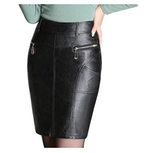 Nobrand Falda lápiz de Cuero de Cintura Alta para Mujer Primavera otoño M / 4XL Falda Femenina Falda de Cuero Casual con Cremallera Negra