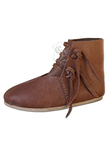 Battle-Merchant Mittelalterlicher Kinderschuh mit Schnürverschluss Lederschuh Halbschuh Knechtschuh Mittelalter - LARP - Wikinger Schuhe Größe 24-34 (24)