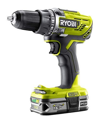 Ryobi R18DD3-2215S Akku-Bohrschrauber Brushless 18V R18DD3-2215S, Akku-Schrauber mit 2-Gang Motor, GripZone™, automatische Spindelarretierung, LED-Beleuchtung, inkl. 2 Li-Ionen Akku 18V 1,5Ah