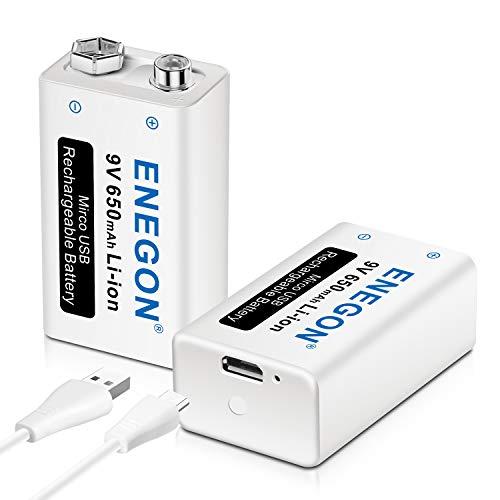 ENEGON 9V USB Directa Recargable Batería 650mAh Lito-Ion con Cable Micro USB 2 en 1 para Micrófonos, Alarma de Humos, Juguetes electrónicos, Walkie Talkie y Más aparatos (2 Baterías)