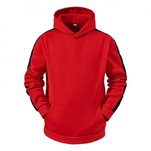 Lovor Mens Fashion Athletic Hoodies Sport Sweatshirt Solid Fleece Pullover Novelty Color Block Fleece Hoodie with Pocket(B Red,XL)