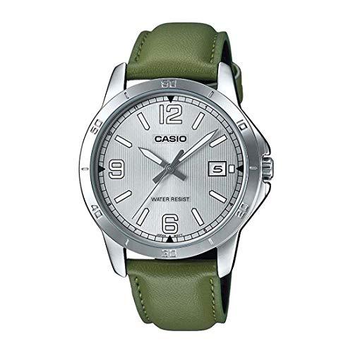 Casio MTP-V004L-3B - Reloj de pulsera para hombre, acero inoxidable, correa de piel, esfera plateada
