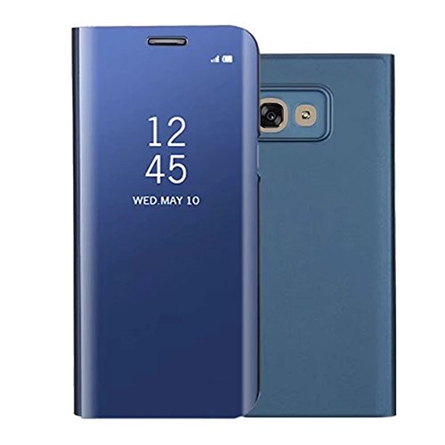 Sycode Screen Protector Blu Slim Fit Transparente Standing View Specchio Wallet Portafoglio Custodia per Samsung Galaxy A5 2017-Blu