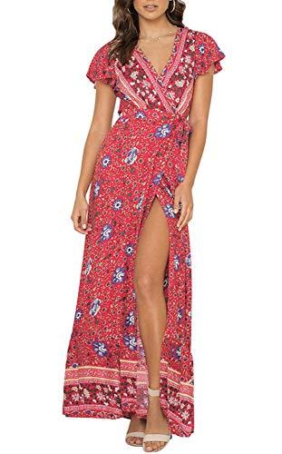 ZESICA Women's Bohemian Floral Printed Wrap V Neck Short Sleeve Split Beach Party Maxi Dress Red