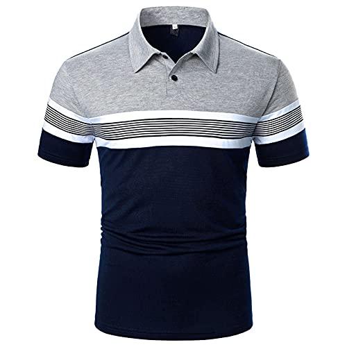 Polo para hombre, camisa de negocios, camisa de manga corta, cuello redondo, corte ajustado, elástico, monocolor, para verano, deporte, tenis, golf, cuello en V marine M
