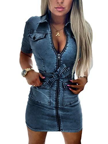 Onsoyours Damen Jeans Minikleid Sommerkleider Ärmellos Bodycon Bleistiftrock Partykleid Tunika Hemd Blusenkleid Jeanskleid Clubwear Cocktailkleid Mit Knopfleiste Blau XL