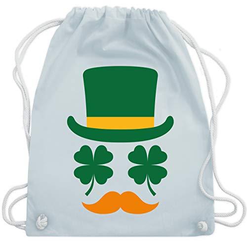 Shirtracer St. Patricks Day - Irisches Gesicht mit Kleeblättern - Unisize - Pastell Blau WM110 - Turnbeutel und Stoffbeutel aus Baumwolle