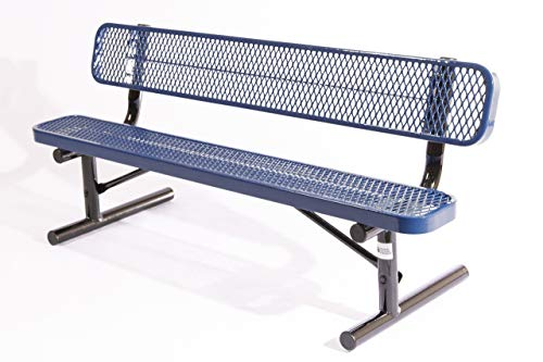 Coated Outdoor Furniture B6WBP-DBL Park Bench Back, 6 Feet, Dark Blue