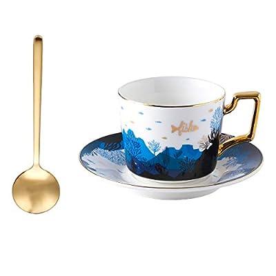 YOLIFE Ceramic Cup and Saucer Set, Sky Fish Tea...