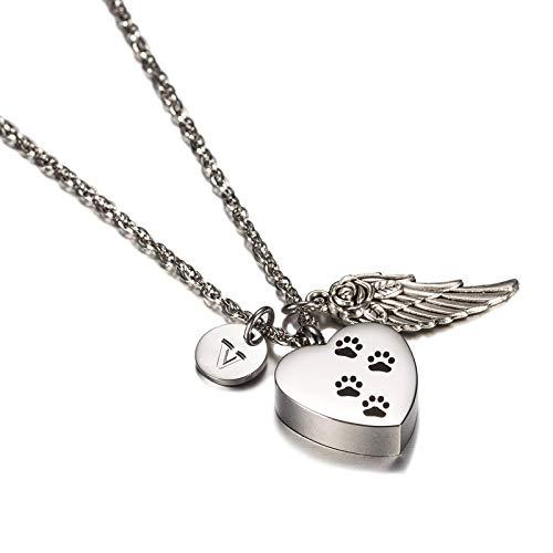 Amody Acero Inoxidable Corazón con Pata de Perro, alas de �ngel & 26 Carta Collar Colgante de...