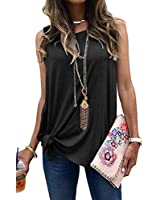 MODARANI Black Sleeveless Tops for Women Cute Tank Tops Flowy Knot Twisted Side Shirts L