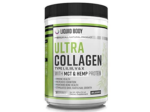 Multi Collagen Ultra with MCT & Hemp Protein, 5 Types of Collagen, Hydrolysed Grass Fed Bovine, Wild Caught Fish, Free-Range Chicken & Eggshell, MCT (C8) Oil Powder & Hemp Protein Powder, (400gram)