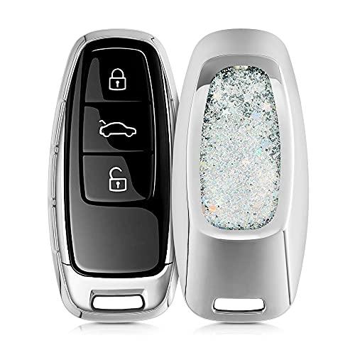 kwmobile Funda Compatible con Audi A6 A7 A8 Q7 Q8 Llave de Coche Keyless de 3 Botones - Carcasa Protectora Suave de Silicona - Case para Mando - Purpurina y Estrellas