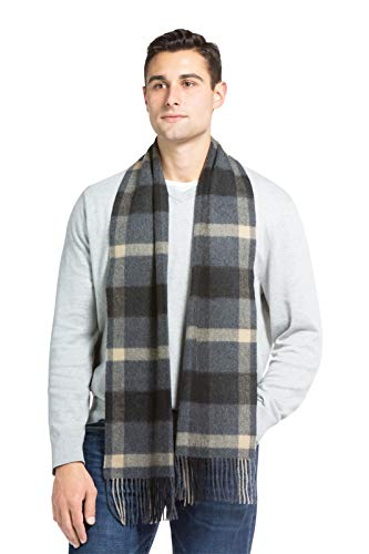 Fishers Finery Men's 100% Pure Cashmere Scarf, Warm, Comfortable (Gry Cml Plaid)
