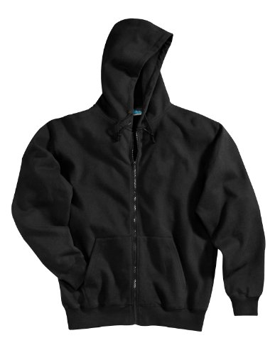 Tri-mountain Cotton/poly sueded finish hooded full zip sweatshirt. - BLACK - 6XLT